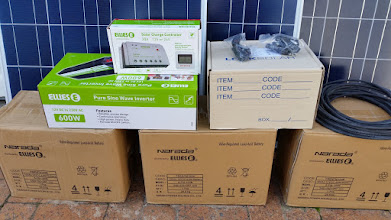 Photo: Closer view of the solar controller and inverter (this was my initial purchase from Ellies)
