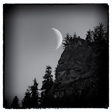 Photo: Moon tickle @ Tunnel View  While snapping a few frames at Tunnel View in Yosemite I noticed the Moon cruising along and just about ready to go behind the cliffs. The dark processing (and film grain) was done in Nik Silver Efex Pro. The time of day was about 4 PM or so.  #bwlandscapewednesday by +Manuel Votta+Margaret Tompkins+Victor Bezrukov+Charles Lupica #breakfastclub by +Gemma Costa+Andrea Martinez #landscapephotography +Monochrome Arty Club