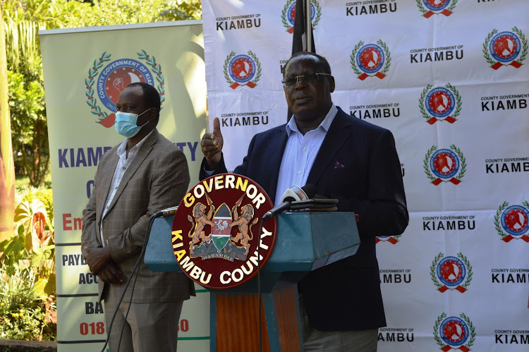 Governor James Nyoro at the county headquarters on May 13, 2020 where he announced the commencement of Covid-19 mass testing in Kiambu County.