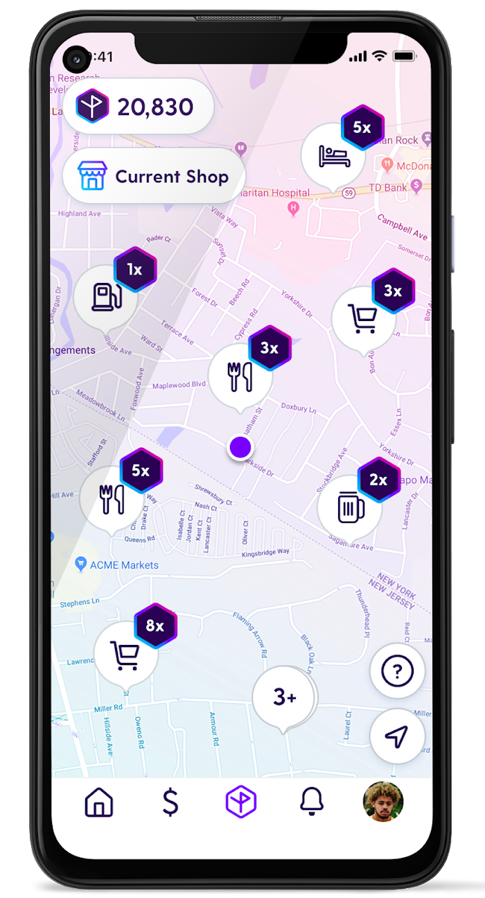 Customers can view their points based on the location of the transactions