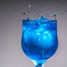 Golf ice by Nikola Bogdanic - Abstract Water Drops & Splashes ( water blue ice glass splash golf ball )