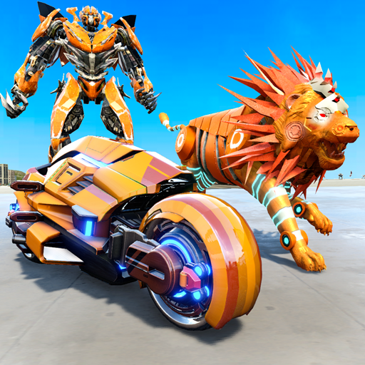 Leão Robô Transformando Jogos: Bicicleta Robô Tiro