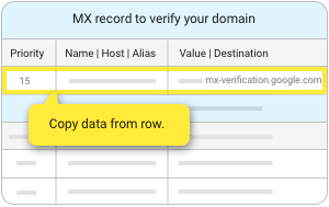MX records table with the verification record at the top.