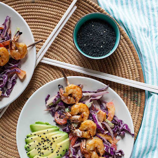 Shrimp Skewers with Creamy Sesame Slaw
