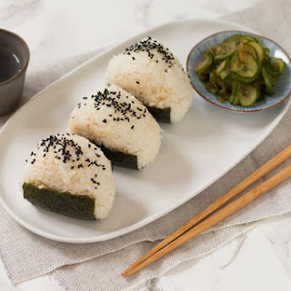 Tuna Onigiri and Quick Cucumber Pickle.