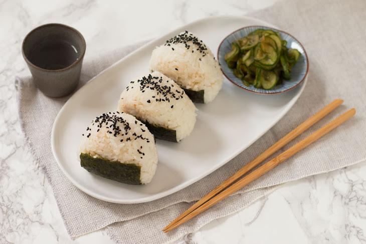 Tuna Onigiri and Quick Cucumber Pickle