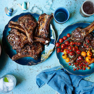 Lamb Chops Scottadito with Charred Cherry Tomatoes.