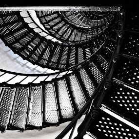 steps of awareness by Jarka Vojtaššáková - Black & White Buildings & Architecture ( abstract, stairs, spiral, architecture, black&white )
