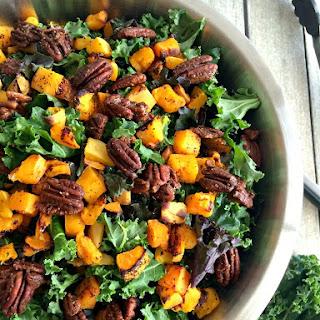 Winter Kale Butternut Squash Salad w/ Spiced Pecans