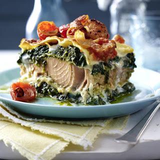 Salmon and Pesto Lasagna.