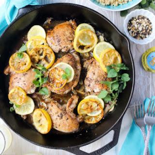 Pan-Seared Meyer Lemon Chicken Thighs.