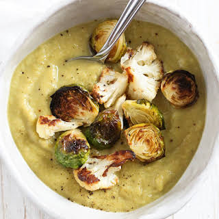 Roasted Brussels Sprouts and Cauliflower Soup.