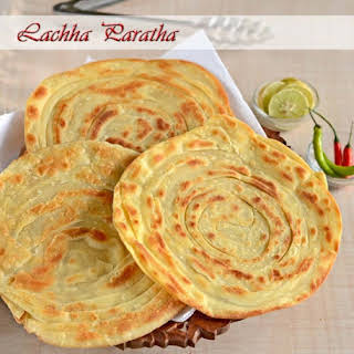 Lachha Paratha or Crispy Flaky Layered Indian Flat Bread.