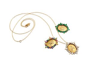 Photo: EMILY & ASHLEY Exclusively ours. 18k yellow gold lockets. Single initial with multicolor sapphires. $2,840. Monogram with emeralds. $2,755. Owl engraving with rainbow moonstones. $2,355. Chain sold separately. Main Floor. 212 872 8775
