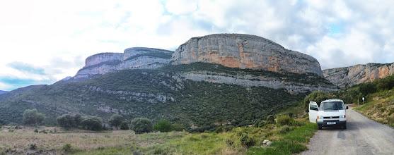 Photo: Roca dels arcs, Villanova de Meia, Catalunia  This is the face we climbed (route: Rampes Invertides)