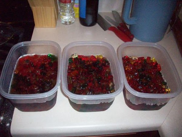 Then stir the gummi bears around and label each lid so that you know...