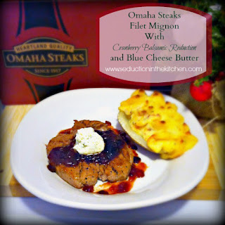 #ad #omahasteaksgifts Omaha Steaks Filet Mignon With Cranberry Balsamic Reduction and Blue Cheese Butter #ad.