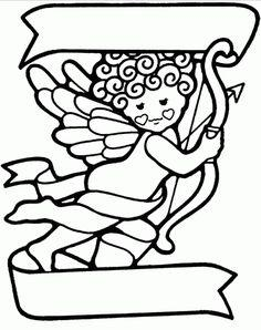 Baby Angel valentine coloring page