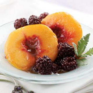 Lavender-Poached Peaches & Blackberries