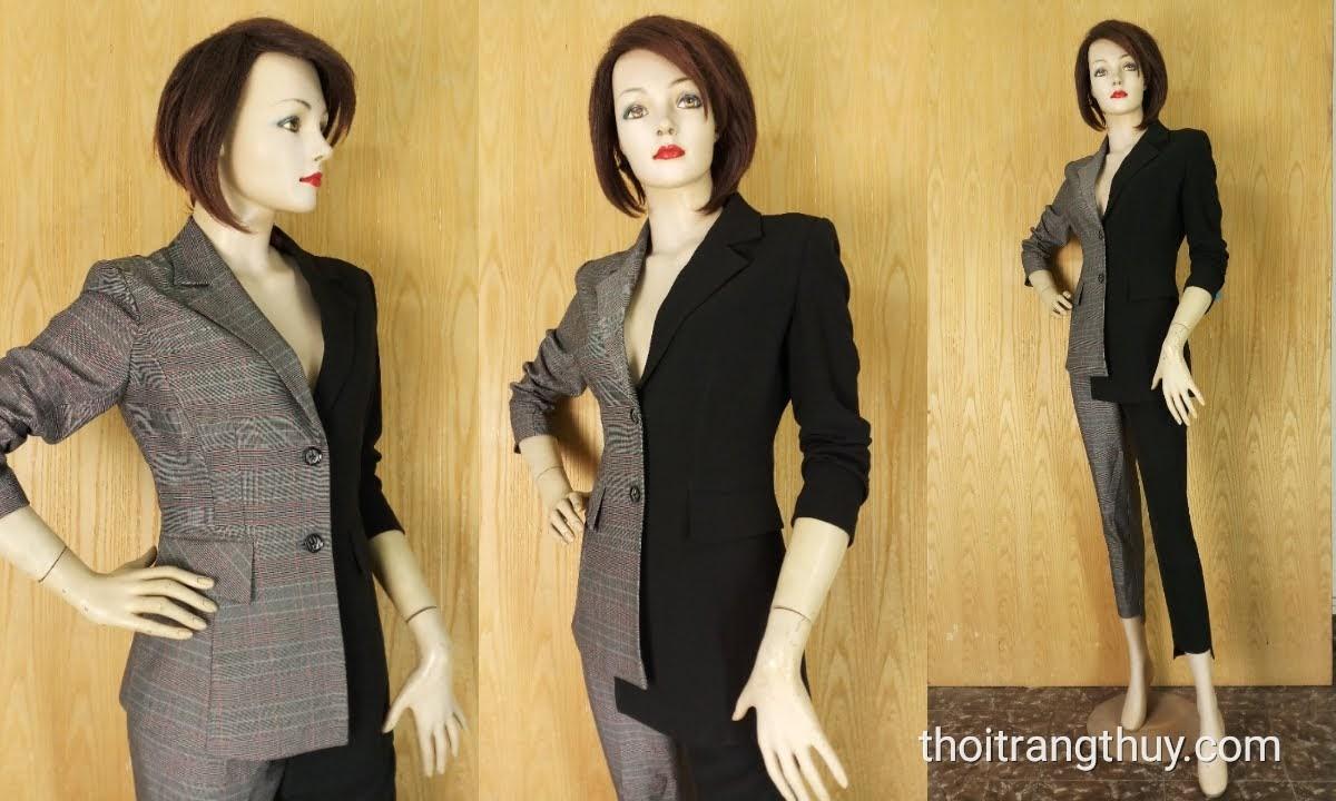 Áo vest nữ bất đối xứng kẻ caro phối màu đen V636