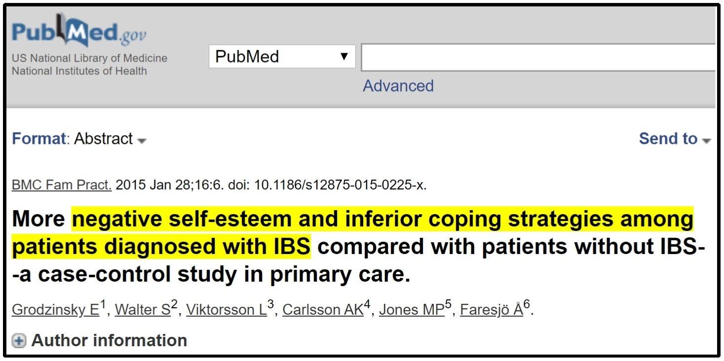 low self-esteem and IBS