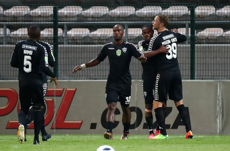 Iqraam Rayners celebrates a goal with teammates during the 2018 Nedbank Cup Last 32 football match between Stellenbosch FC and Highlands Park at Athlone Stadium, Cape Town on 14 February 2018.