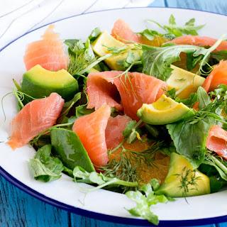 Smoked Salmon, Orange and Avocado Salad.