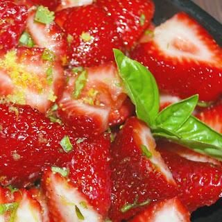 Limoncello Strawberries with Fresh Basil.