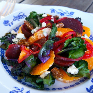 Roasted Kale Sprout Salad with Pickled Beets, Mandarins & Spicy Pecans