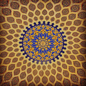 by Carmel Bation - Abstract Patterns ( persiacourt, radial, radial symmetry, domeceiling, uae, iranian, dome, persiandesigndomeceiling, ibnbattutamall )