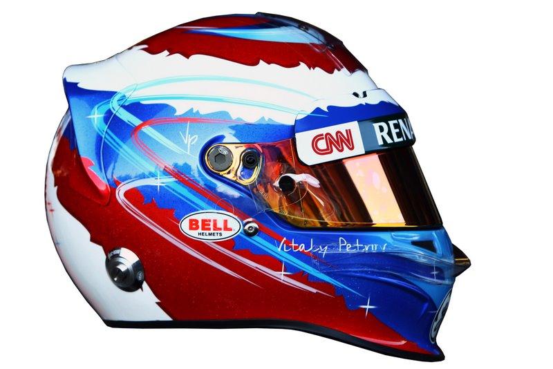 Photo: The helmet of Vitaly Petrov (RUS) Caterham.Formula One Testing, Day 2, Barcelona, Spain, Wednesday 22 February 2012.