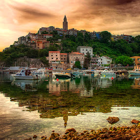 Vrbnik at dawn by Miro Cindrić - Landscapes Waterscapes ( vrbnik )