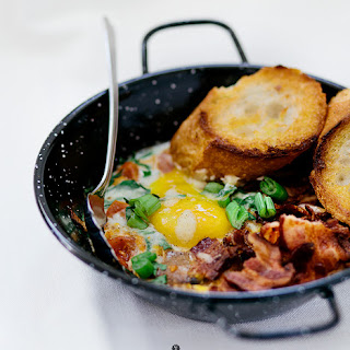 Eggs Baked With Tomatoes And Champignons