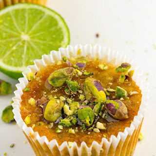 Pistachio, Lime, Yoghurt And Zucchini Cupcakes.
