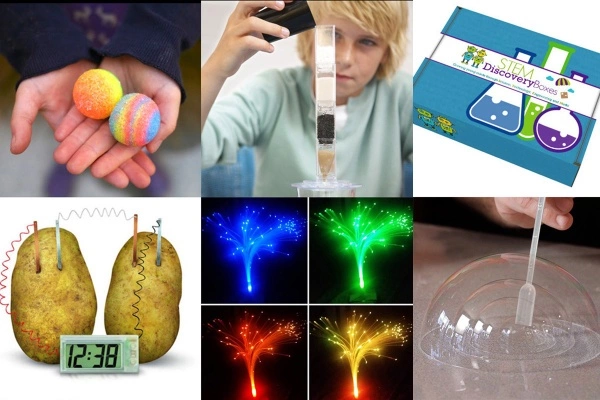Collage of 6 different experiments from a STEM Science Subscription Box