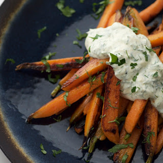 Ten Minute Pan Roasted Carrots With Yogurt Sauce