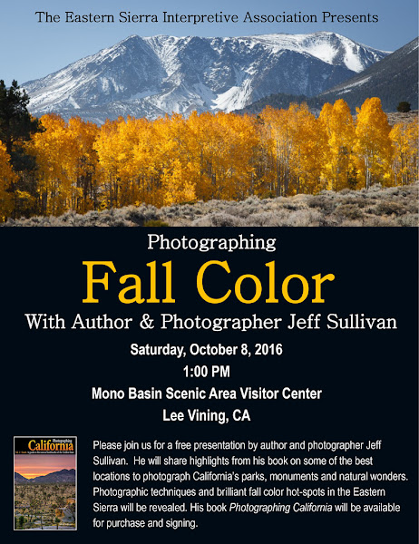 Photo: I'll be presenting on Eastern Sierra Fall Colors this Saturday, October 8, 1 pm in the Mono Basin Visitor Center auditorium in Lee Vining.  Drop by after lunch for some inspiration before you head back out!