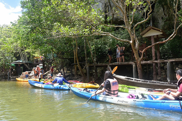 Leave kayaks and walk to the entrance of Pee Hua Toh Cave