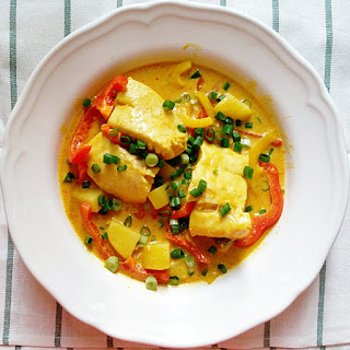 Hoki Poached In Thai Yellow Curry With Bell Peppers And Potatoes.