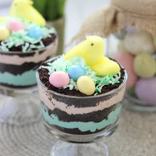 Easter Peeps Dirt Pudding Cups.