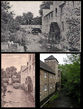 Photo: Riverside Mill, Fore Street (bottom end, continuing from Station Road over the bridge in the background), Bovey Tracey  Top: Postcard by Chapman, 1905 postal date  Bottom: another card view of the mill - unknown publisher/date. Current image.  Unfortunately it's not possible to gain easy access these days to take a photo from the same angle; the modern photo is taken from the bridge seen in the two postcards. The building is now occupied by The Devon Guild of Craftsmen, '...an acclaimed exhibition space for contemporary craft and design.'   see: http://www.crafts.org.uk/