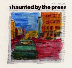 Photo: Haunted By The Prese... Watercolor and gold leaf on newspaper, (110 X 120 mm).