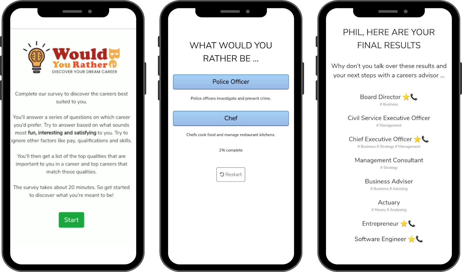 Our old app design without Pathways and all our other new features