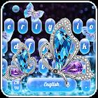 閃亮的豪華鑽石蝴蝶藍色鍵盤 icon
