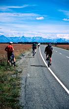 Photo: Cycling in the South Island towards Lake Pukaki