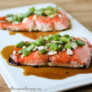 Maple Glazed Salmon with Almonds.