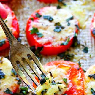 Baked Parmesan Basil Heirloom Tomatoes