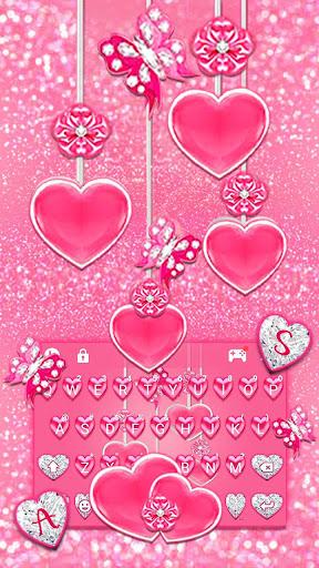 Pink Hearts Keyboard Theme screenshots 2