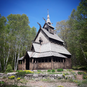 Norwegian Stave Church in Wisconsin by Maria Sicilian - Buildings & Architecture Places of Worship ( stave church, wisconsin, wooden, stave, wood, norwegian, church, forest, medieval, washington island )