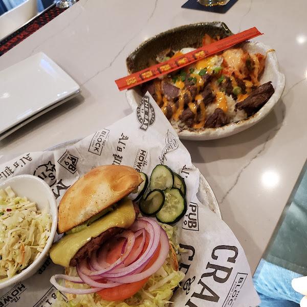 GF Beyond Burger w/ Coleslaw and the gluten friendly Korean BBQ YumYum bowl